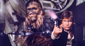 Chewbacca und Han Solo in Krieg der Sterne